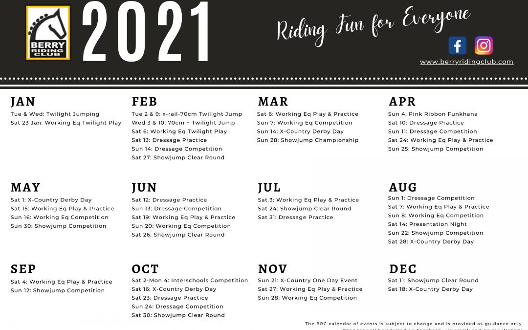 2021 Calendar of Events